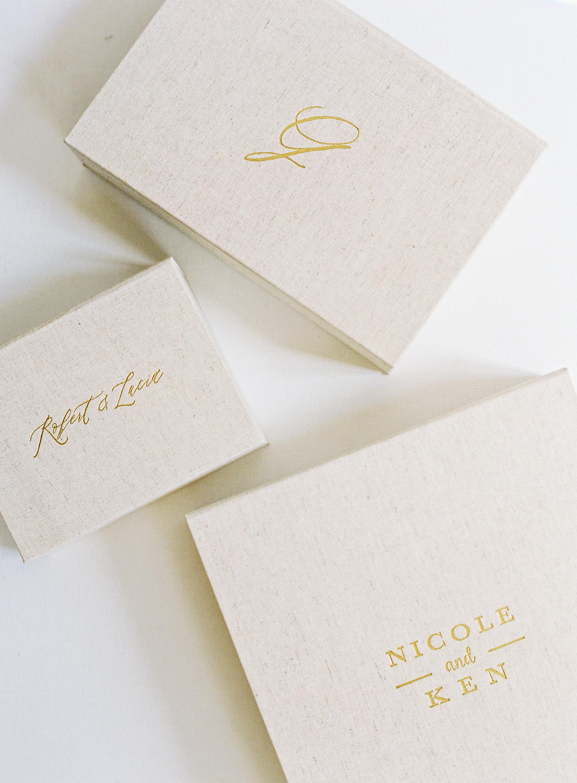 Linen Print Boxes - CUSTOMIZED PHOTO STORAGE