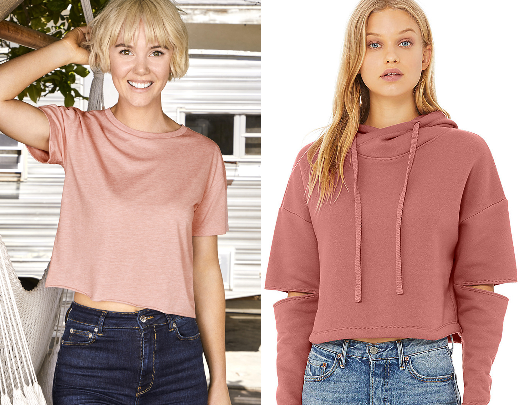 Next Level Apparel women's festival Cali crop—5080 (left)  and  Bella+Canvas fast fashion women's cut out fleece hoodie—7504 (right)