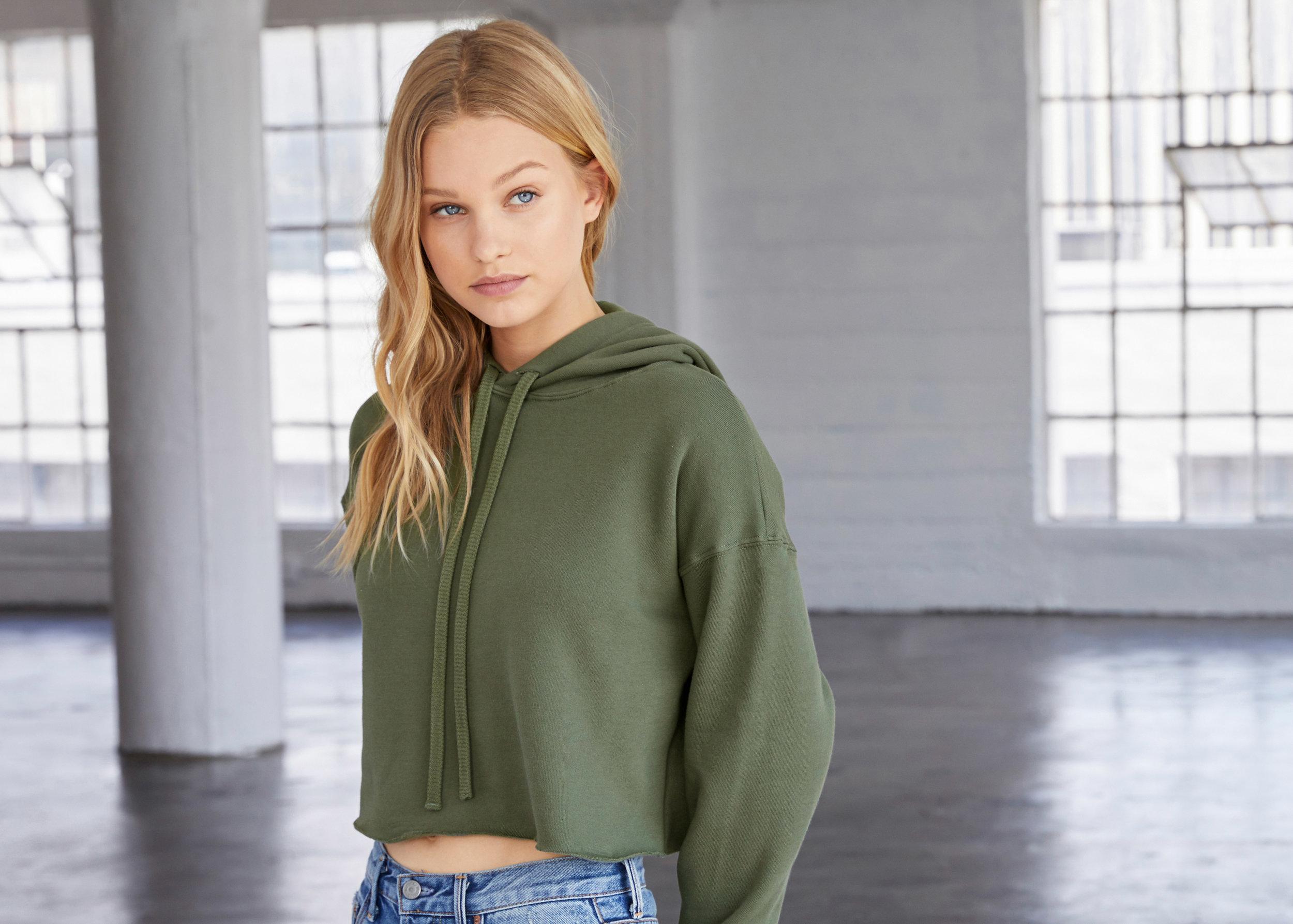 Bella+Canvas women's cropped fleece hoodie—7502