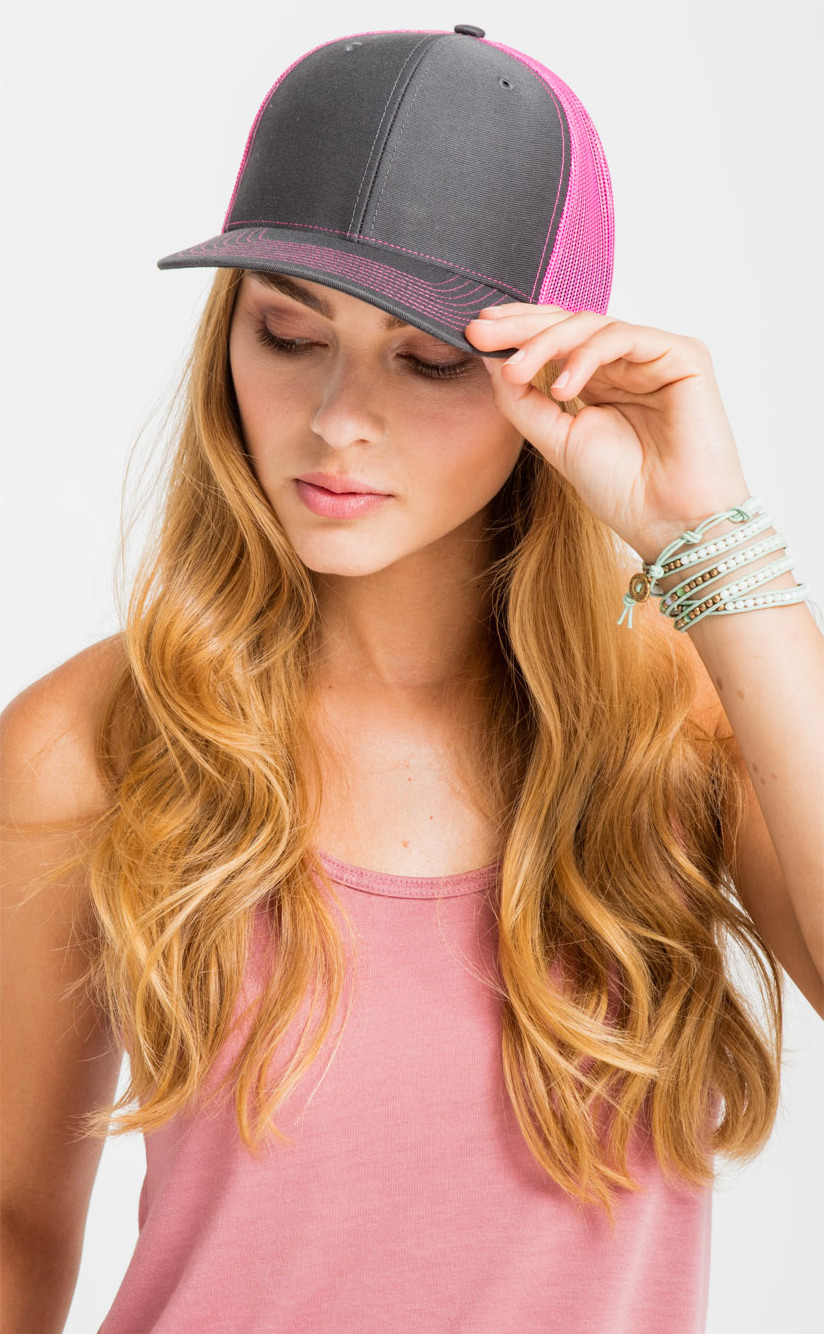Richardson Trucker Snapback—112, in Charcoal/ Neon Pink.