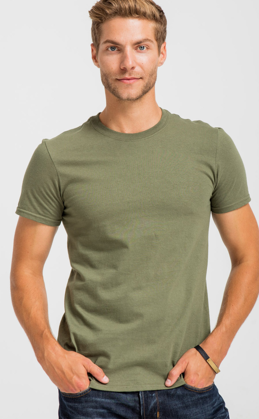 The best, Gildan SoftStyle Tee—64000, in Military Green.