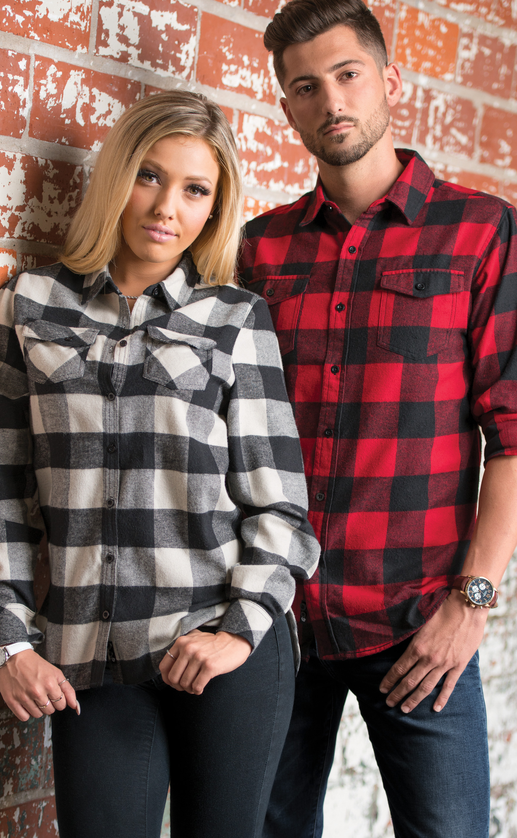 Burnside Women's and Men's Yarn Dyed Long Sleeve Flannel Shirt—5210 & 8210, in Black/Grey and Red/Black Buffalo.