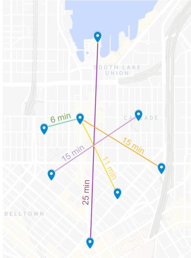 Estimated walk times across South Lake Union