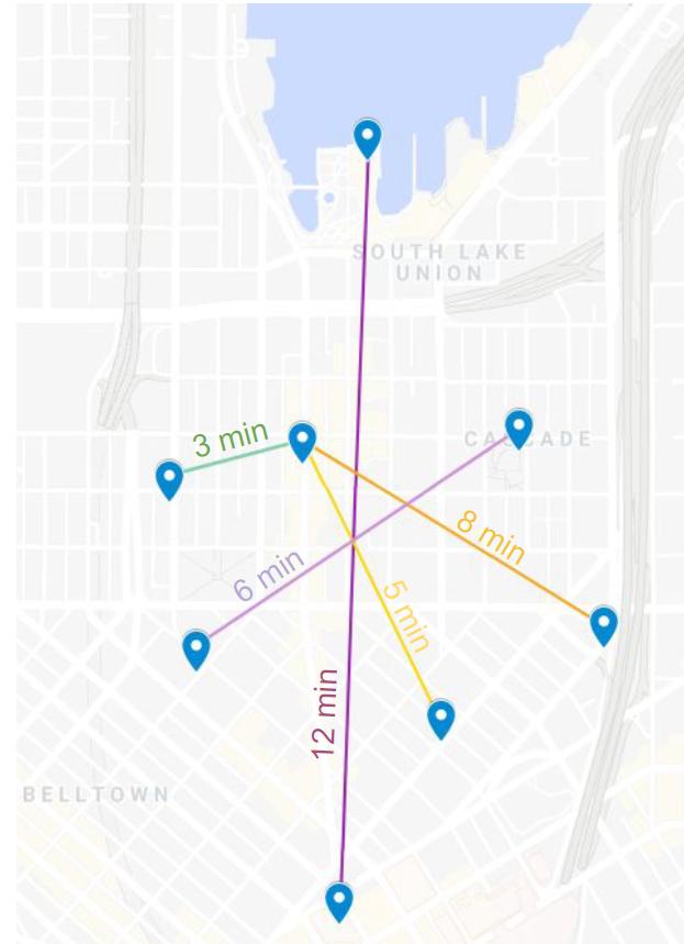Estimated bike times across South Lake Union