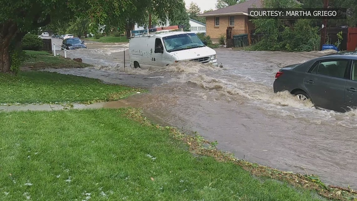 """July 25th, 2018, Englewood suffered a flash flood after 2"""" of rainfall that took a woman's life. Photo courtesy of 9News."""