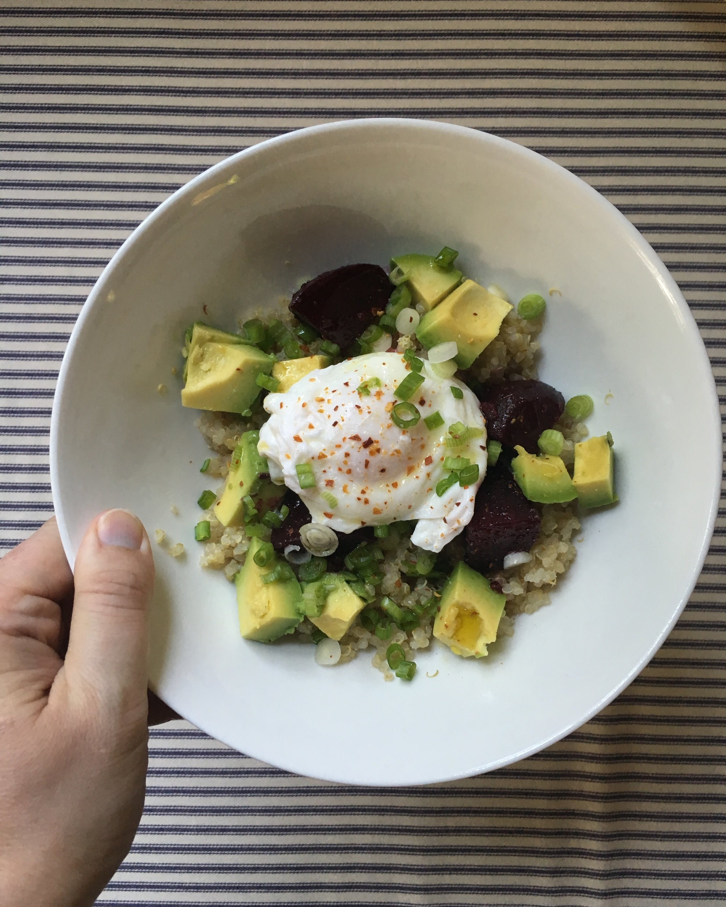 Quinoa Bowl with Glazed Beets, Avocado and Soft Poached Egg