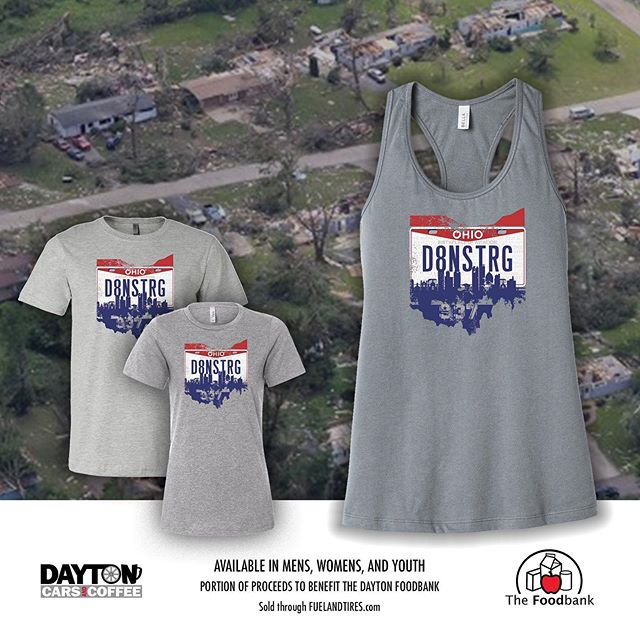 We're proud to announce we have #merch now and it benefits a great cause; @thefoodbankinc  It supports our region to stay #daytonstrong in the wake of the tornadoes and help those still recovering. Sold through @FuelandTires... click through the link in description. We're blown away at the number of ladies tanks ordered already! #helpingdayton #daytoncarsandcoffee #dayton #ohiocarscene #carsandcoffee #thefoodbank #d8nstrg #carscene
