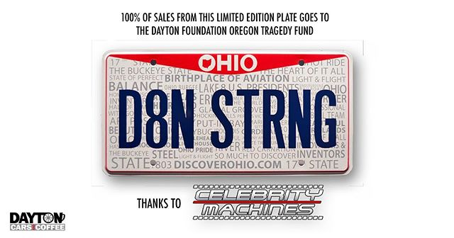 It's amazing what the car community can accomplish!@celebritymachines, based out of #Indianapolis, will be on-site tomorrow atMeet #10. They will be donating 100% of the sale of these Limited Edition plates to #TheDaytonFoundation #OregonDistrictTragedyFund. Fantastic things happen when neighbors help neighbors, whether they live in the same state or not.#CarCommunity#DaytonStrong FUN FACT: The first car to EVER win a race at the@indianapolismotorspeedway AND the FIRST EVER pace car for the Indy 500 were BOTH built in #Dayton, OH.#carfamily