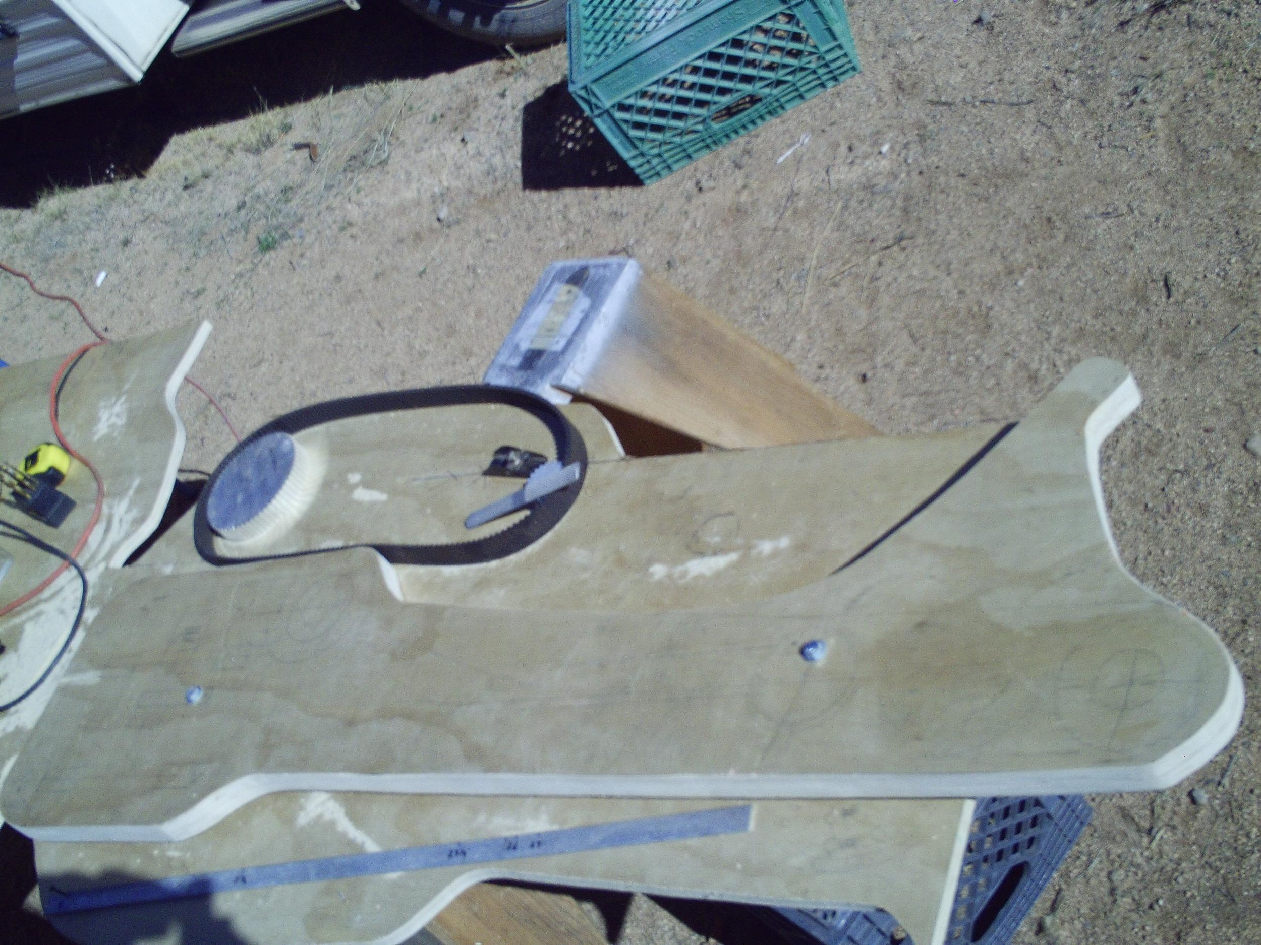 Partly finished plywood central frame backbone.