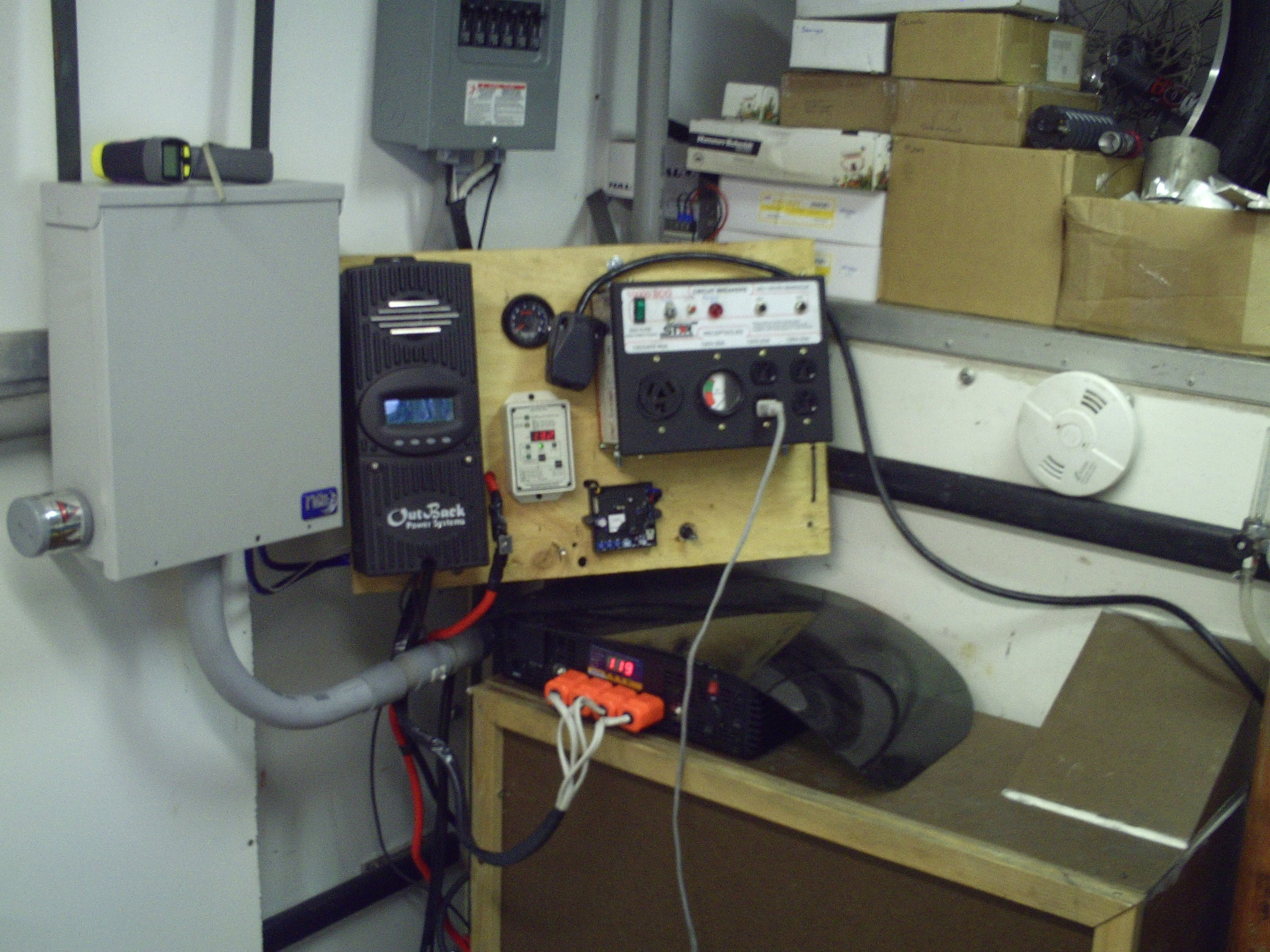 The solar/generator control/distribution center. Hoping to exactly recreate this setup in the new shop trailer.