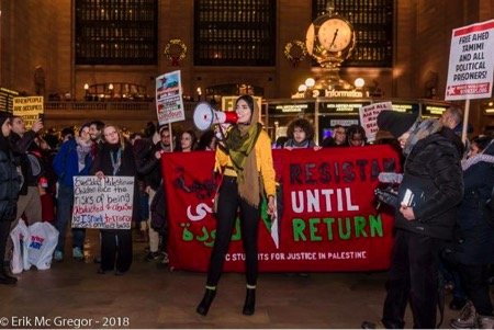 """Rally to Free Ahed Tamimi and All Palestinian Prisoners"" in Grand Central Terminal. Photo by Erik McGregor."