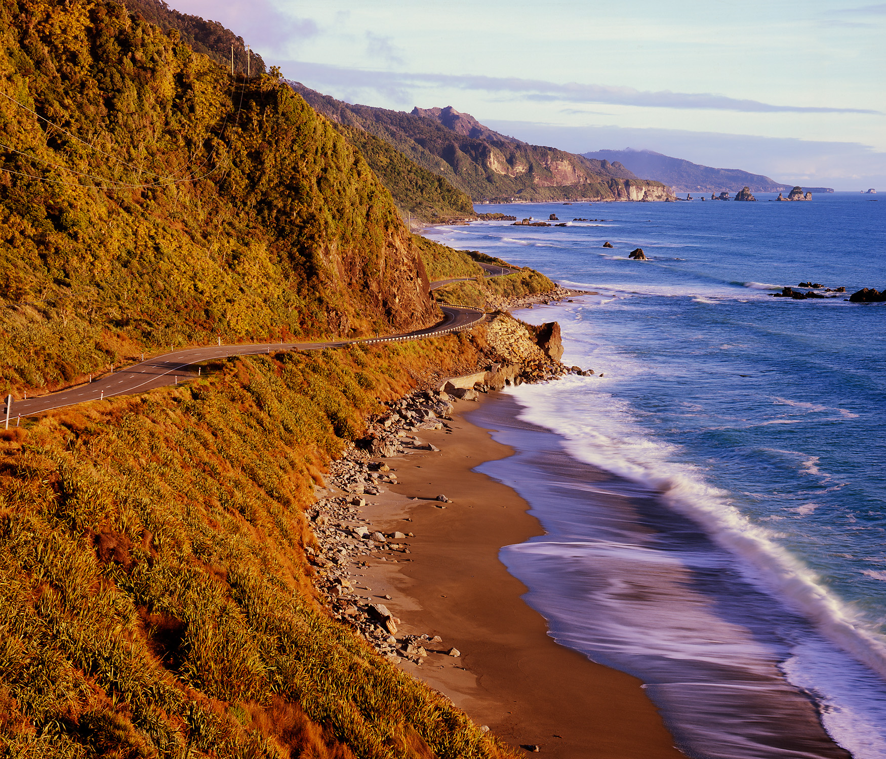 West Coast Road, where the Paparoa Mtn Range meets the Tasman Sea