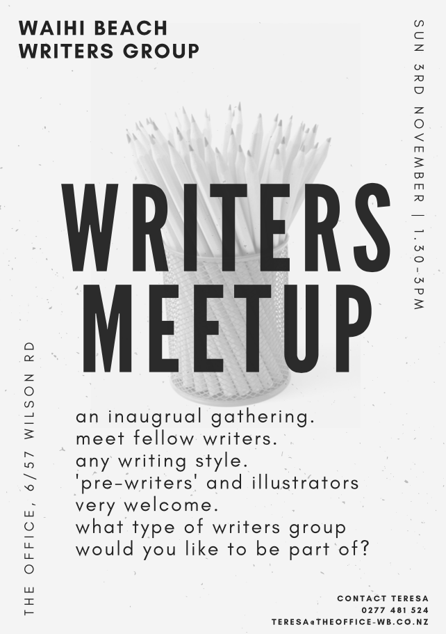 - Your invite to an inaugural gathering. Let us test the waters. Meet fellow writers. Any style.Sunday 3rd November.1.30 - 3.00 PM