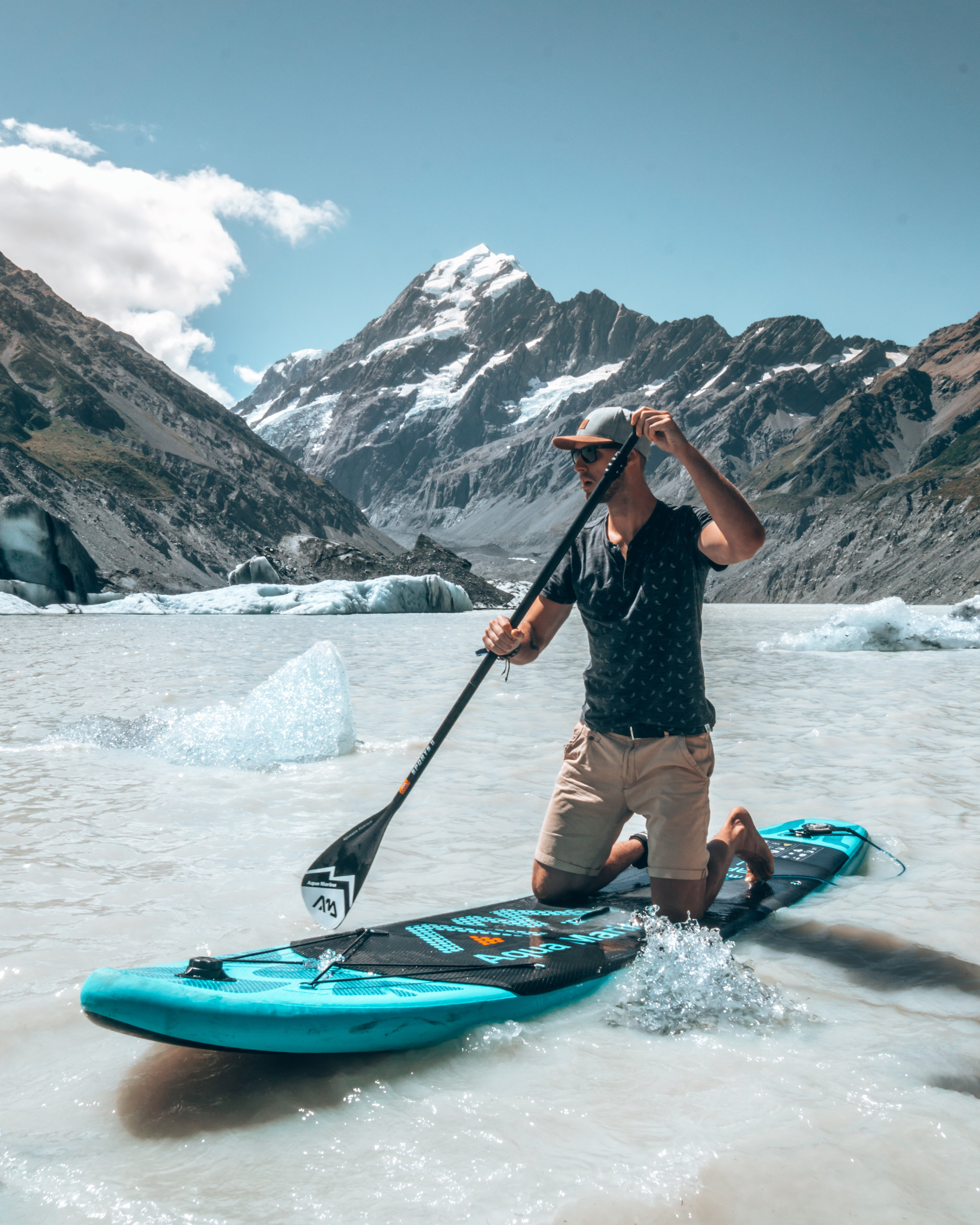 Paddleboarding with icebergs Hooker Lake best SUP spots New Zealand