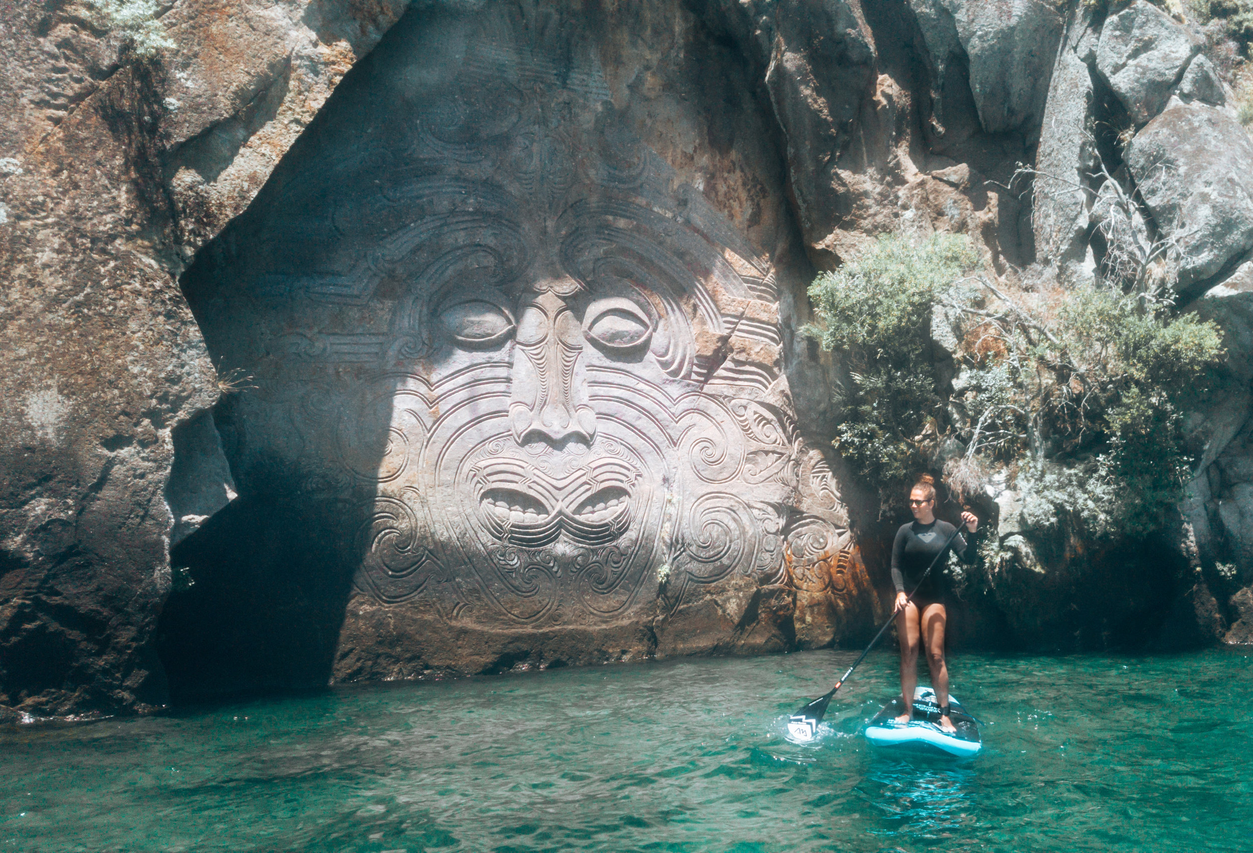 Paddleboarding Maori Carvings Taupo best SUP spots New Zealand