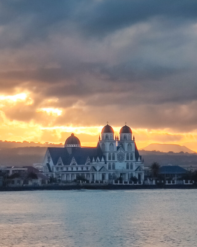 Sunset Immaculate Conception of Mary Cathedral Apia Upolu Travel Samoa