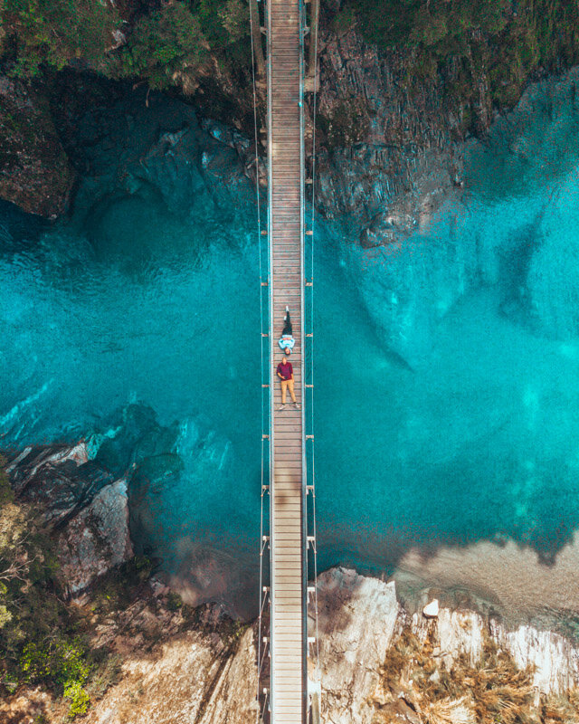 Blue Pools Drone Best Places West Coast New Zealand Travel