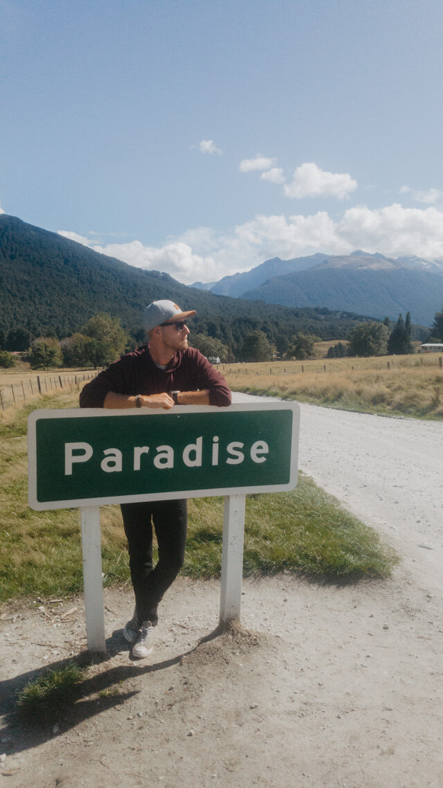 Paradise Sign Queenstown to Glenorchy Scenic drive
