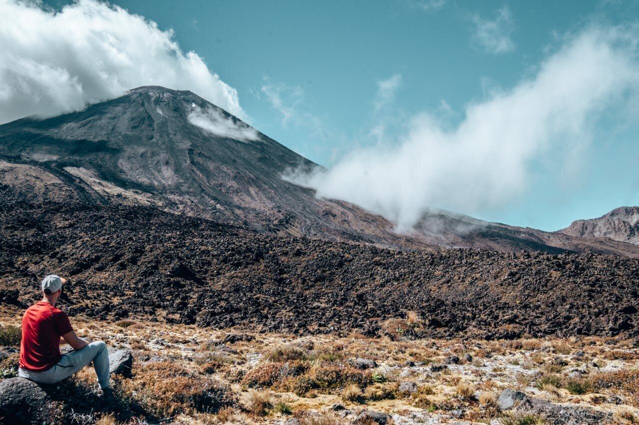 View of Mount Ngauhuroe (Mount Doom) along the Tongariro Alpine Crossing.