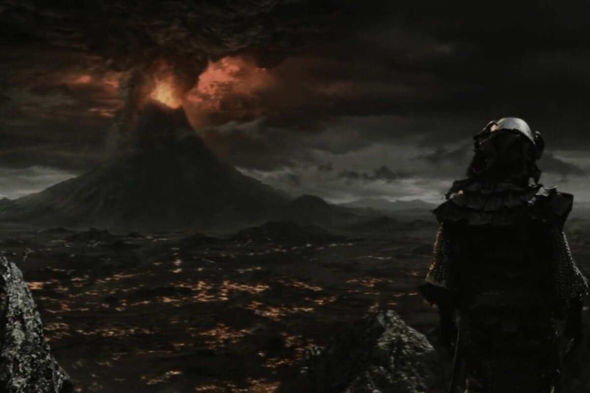 Sam and Frodo entering seeing Mount Doom when entering Mordor in The Return of the King.