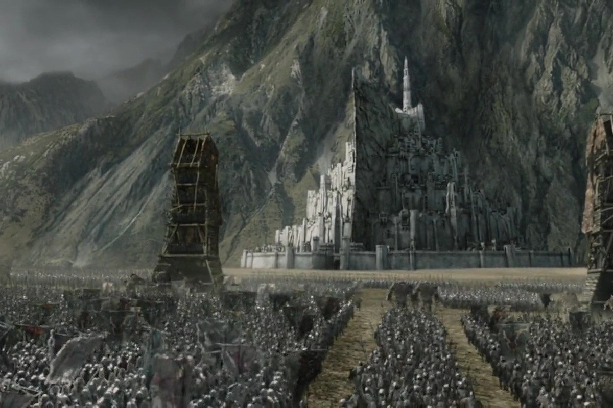 The start of the Battle of the Pelennor Fields in front of Minas Tirith in The Return of the King.