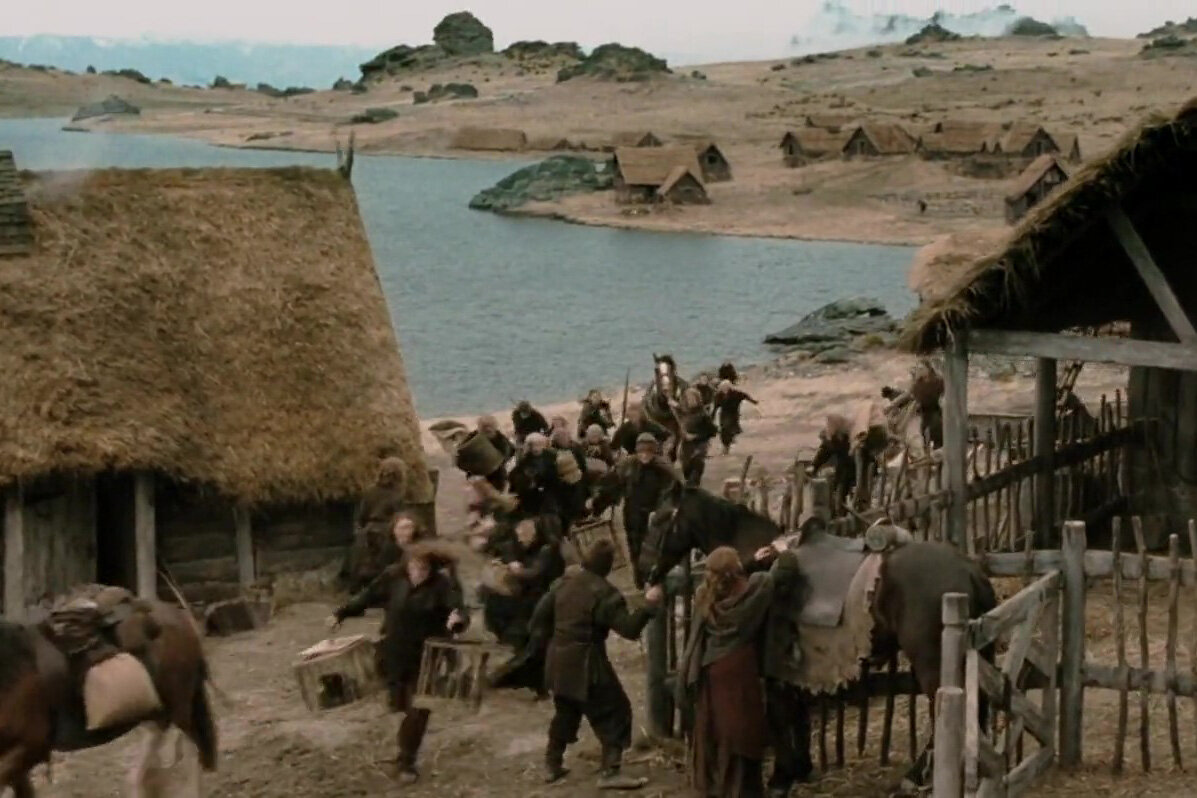 Rohan village in The Two Towers.