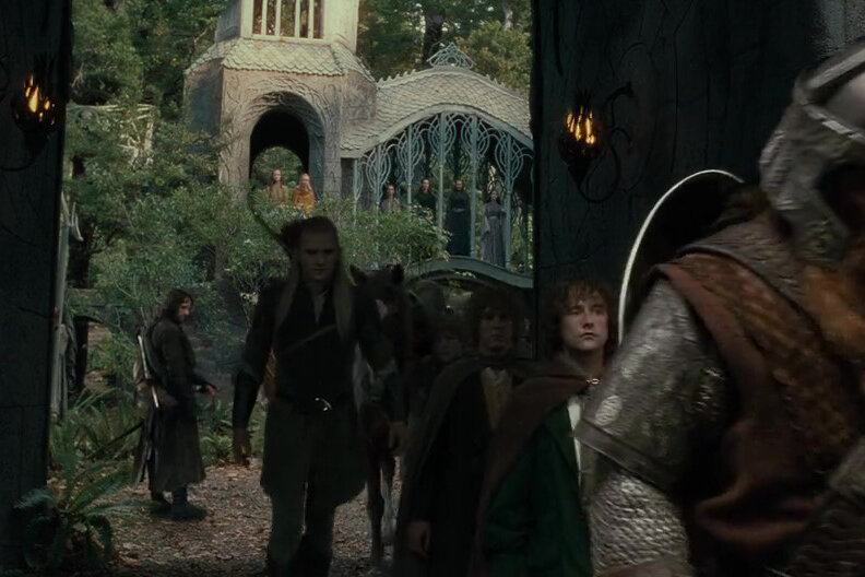The Fellowship leaving Rivendell in The Fellowship of the Ring.