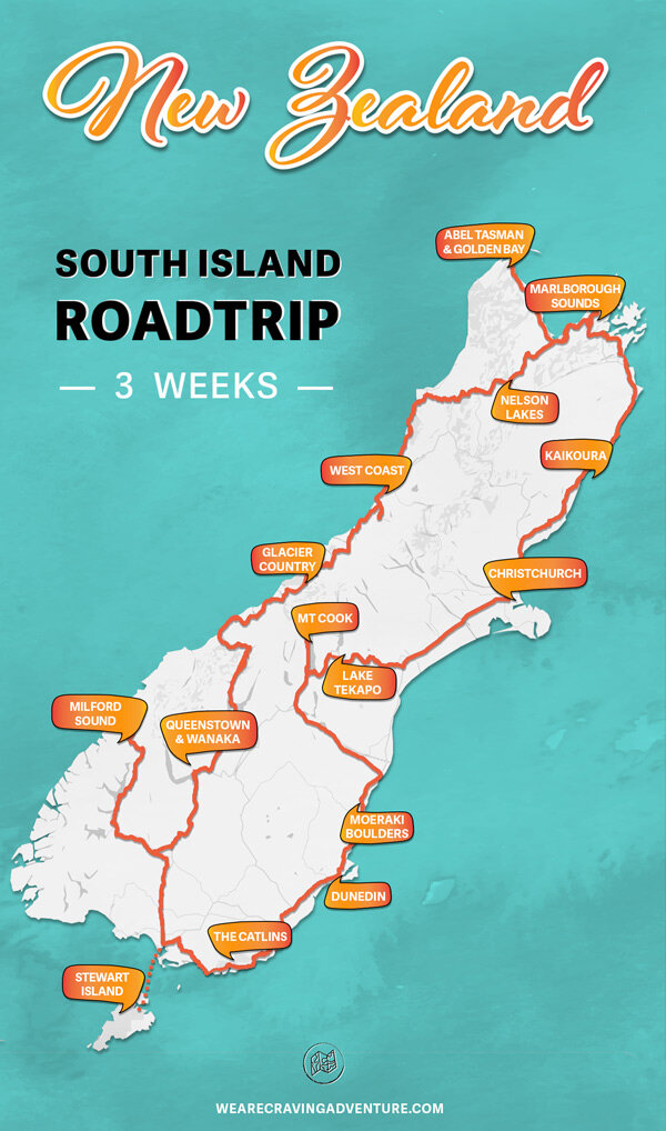 3-week itinerary overview - Days 1 to day 2 - As aboveDay 4 & 5 - Abel Tasman National ParkDay 6 - Takaka HillDay 7- Farewell Spit & Wharariki BeachDay 8 - Nelson LakesDay 9 & 10 - West CoastDay 11 - WanakaDay 12 - QueenstownDay 13 - Milford SoundDay 14 to day 16 - Stewart IslandDay 17 - Curio BayDay 18 - Nugget PointDay 19 - DunedinDay 20 - Mount Cook National ParkDay 21 - Hooker Valley Track