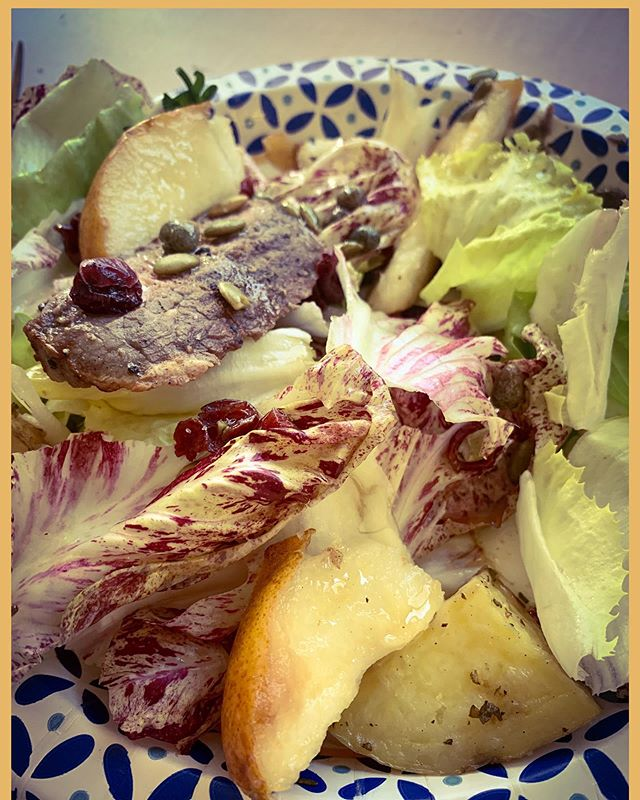 Lunch today-at-the-shop.  A fall salad - pears, radicchio, escarole and capers with a 🍋 lemon Dijon vinaigrette.