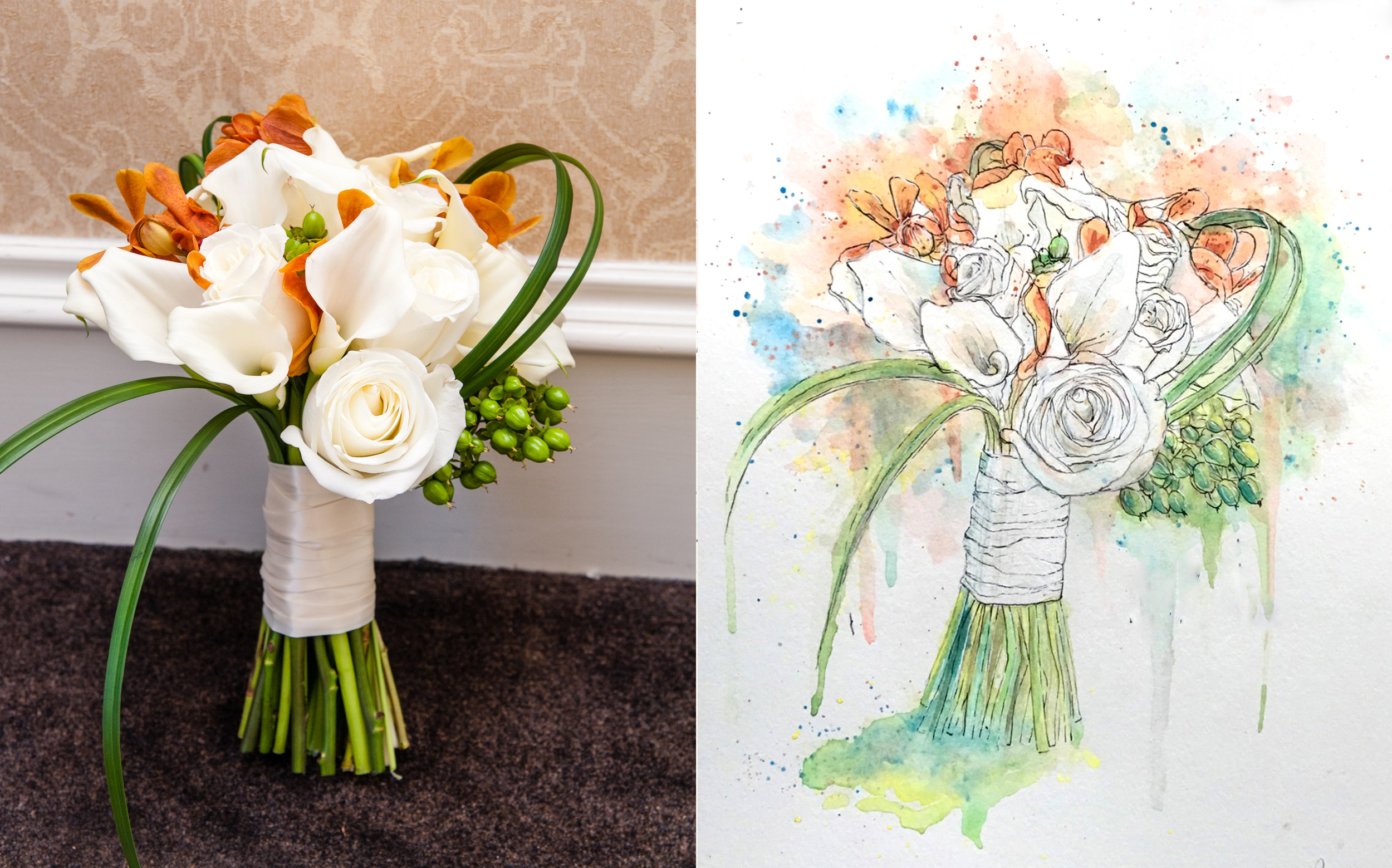 Watercolor Bouquets - An original watercolor & ink painting created from a photo of your special bouquet. Symbolizing love, life and growth, it's the perfect piece to remind you of your special day and what you hold close to your heart. Available in 7 sizes.