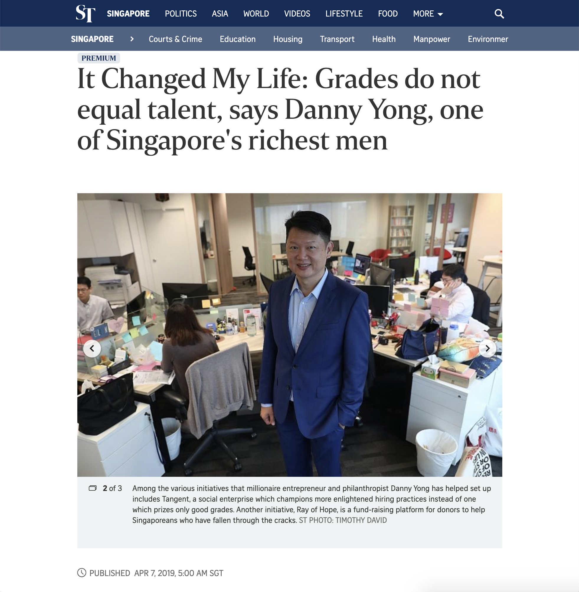 Danny Yong on ST
