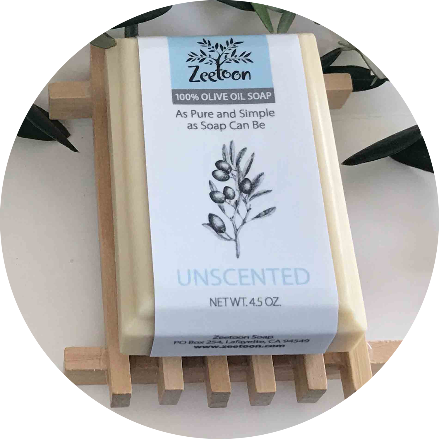 Zeetoon Unscented 100% Olive Oil Soap is our most popular soap
