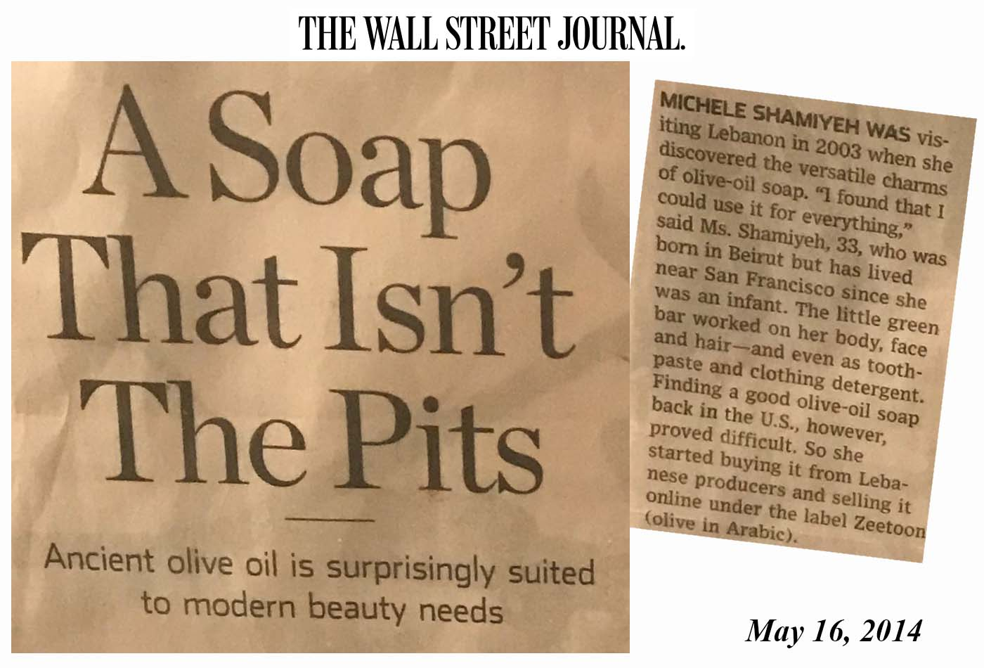 Zeetoon 100% Olive Oil Soap was featured in the Wall Street Journal!