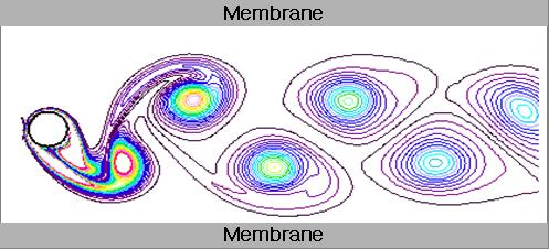 분리막 모듈내에서 발생한 와류는 지속적인 소용돌이(Karman Vortex) 발생