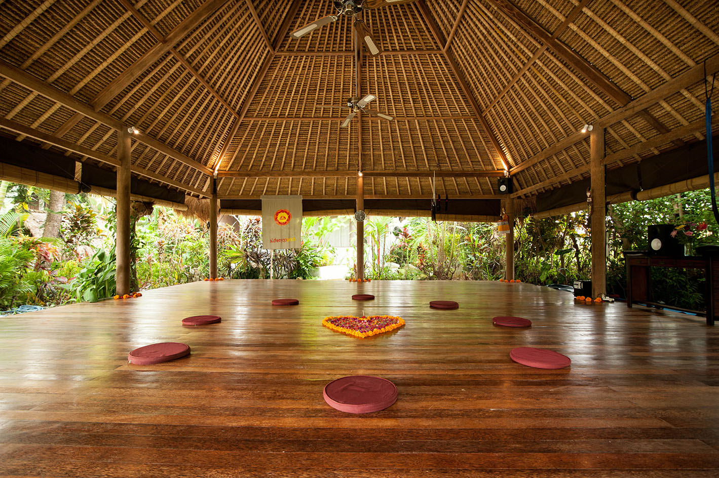 The stunning hard-wood training space at The Ark Bali.