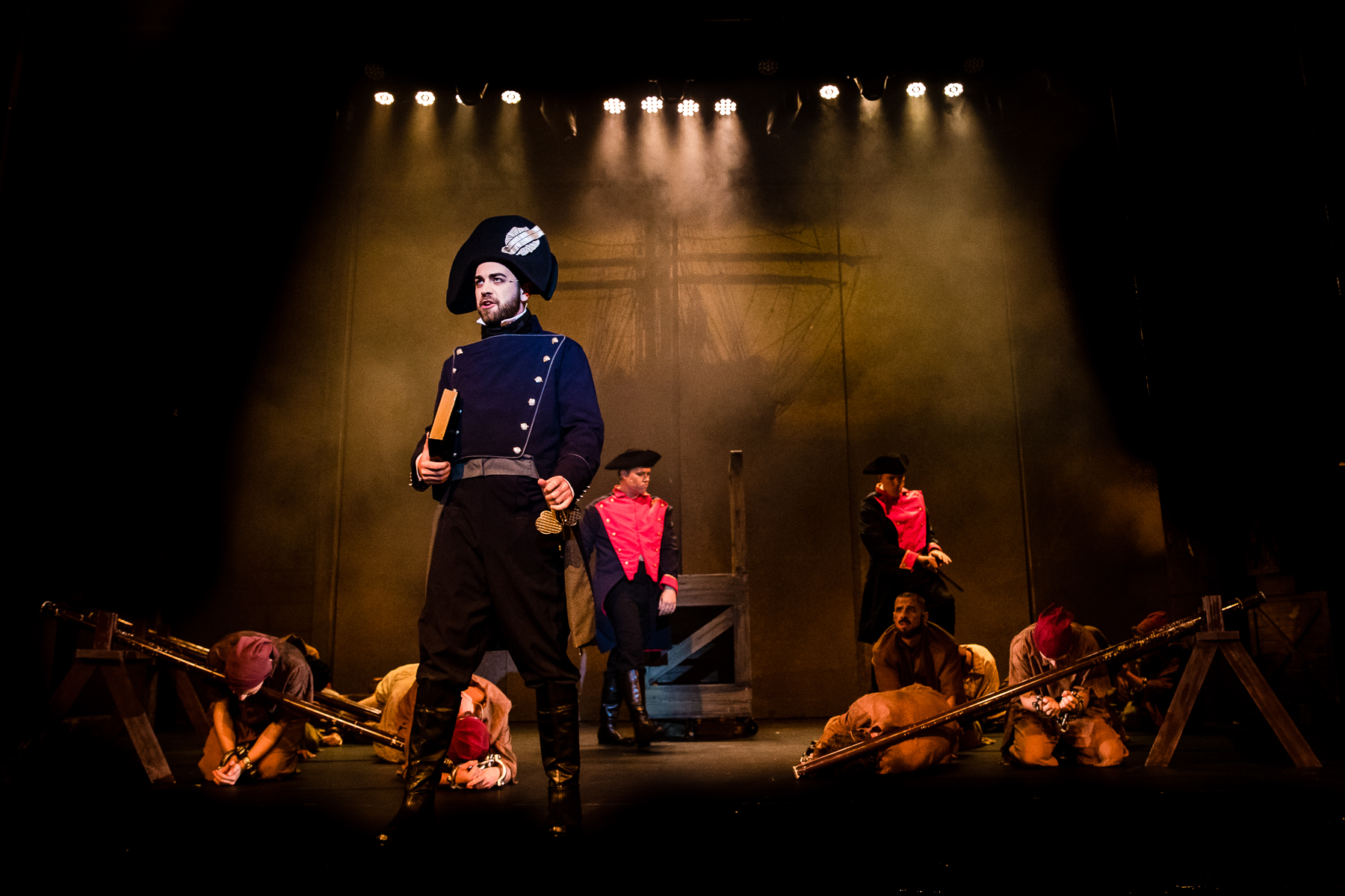 Joshua Rogers and cast of Les Miserbales PHOTO GRANT LESLIE.jpg