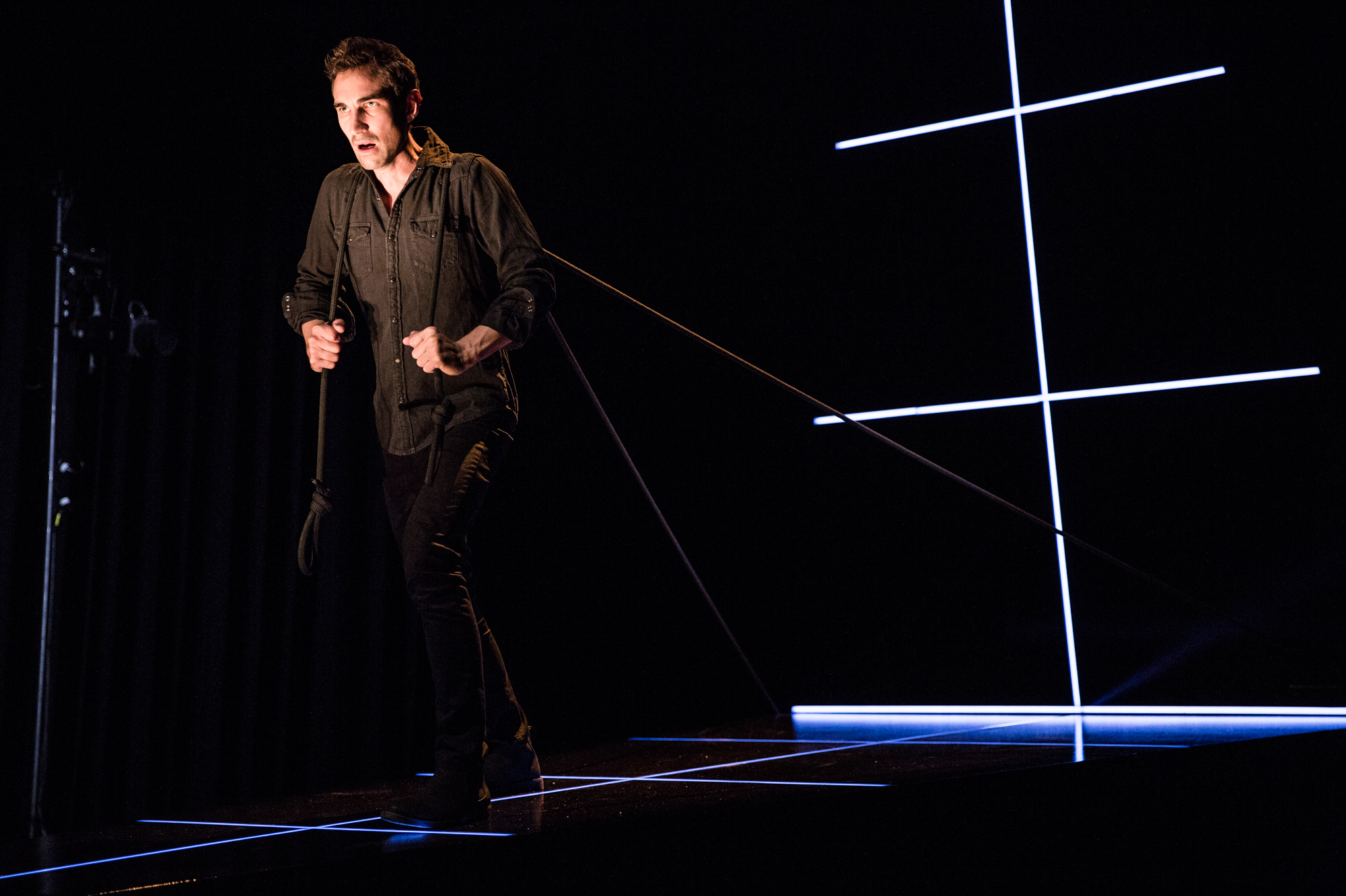 Animal Farm - A tour de force production which frights with the contemporaneity of its warning.Photo of solo performer Dale March by James Hartley.