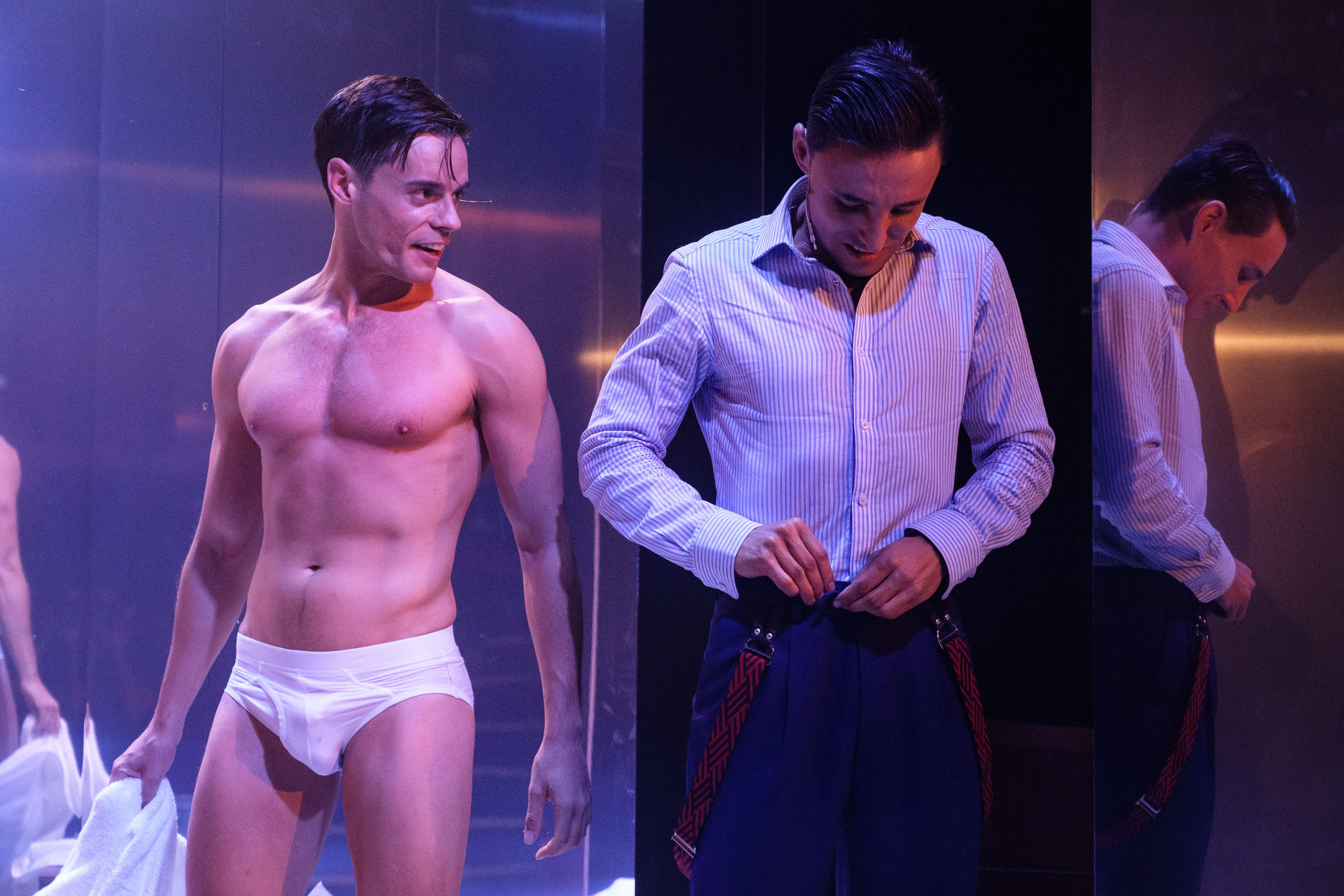 """American Psycho - the Musical - A """"flirt with a hard body"""" .Photo Credit: Clare Hawley"""