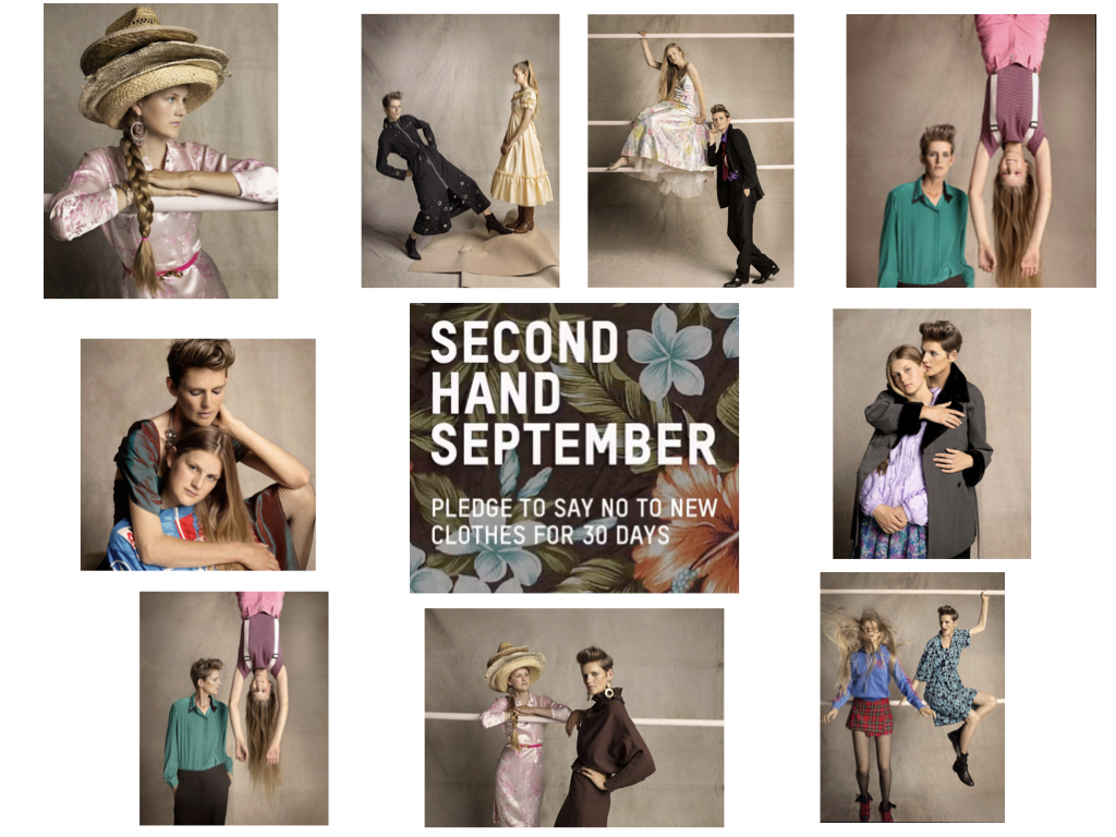 "Ph Tom Craig for Oxfam GB ""2nd Hand September"" Campaign 2019 Styled by Bay Garnett Hair by Neil Moodie. All clothing from Oxfam"
