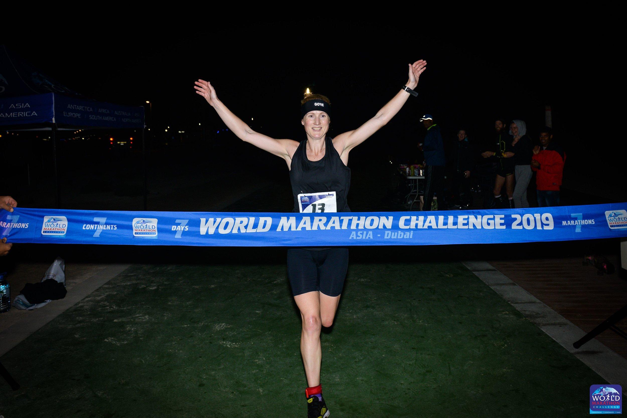 Susannah Gill at the finish in Dubai .jpg