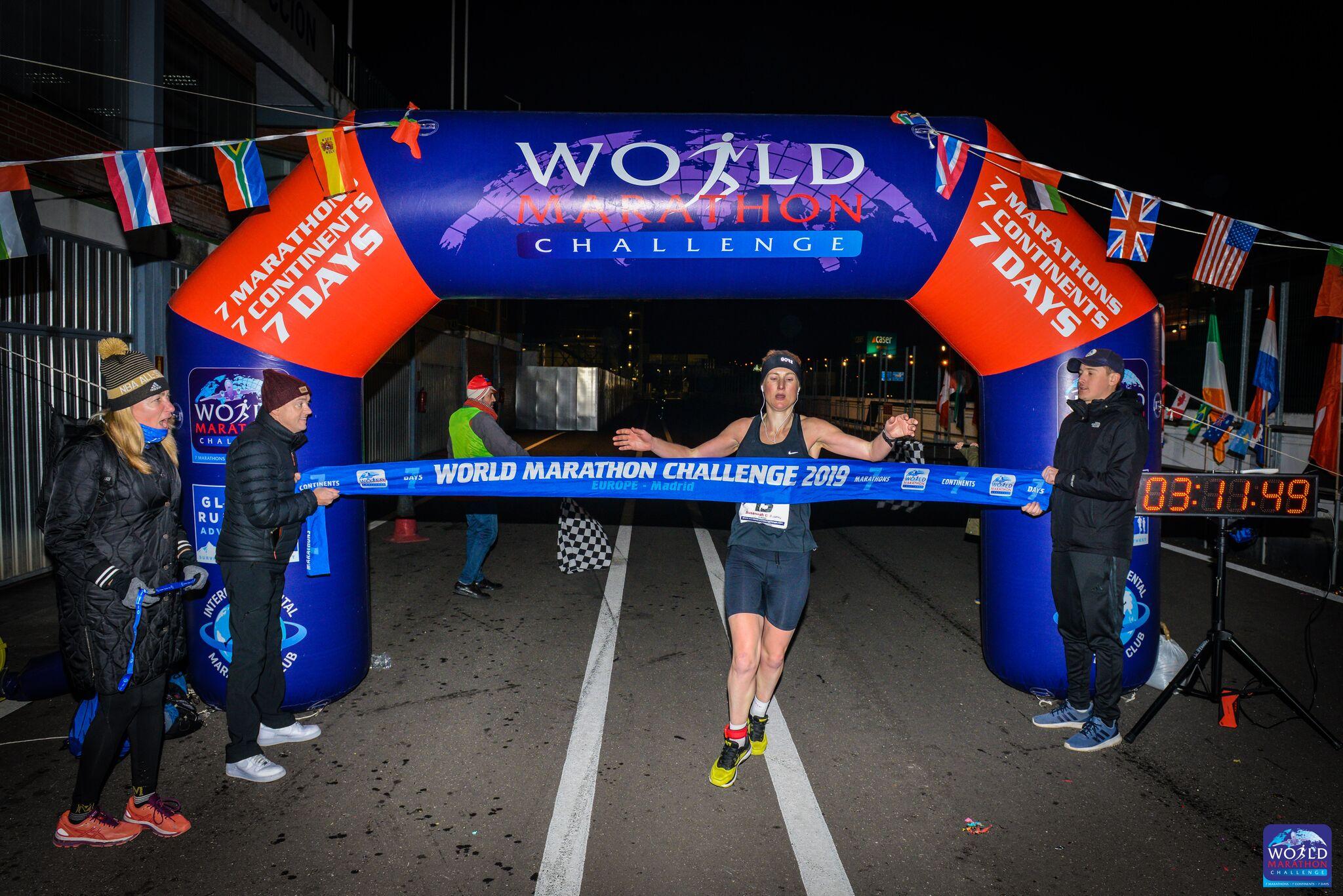 Susannah Gill at the finish in Madrid .jpg