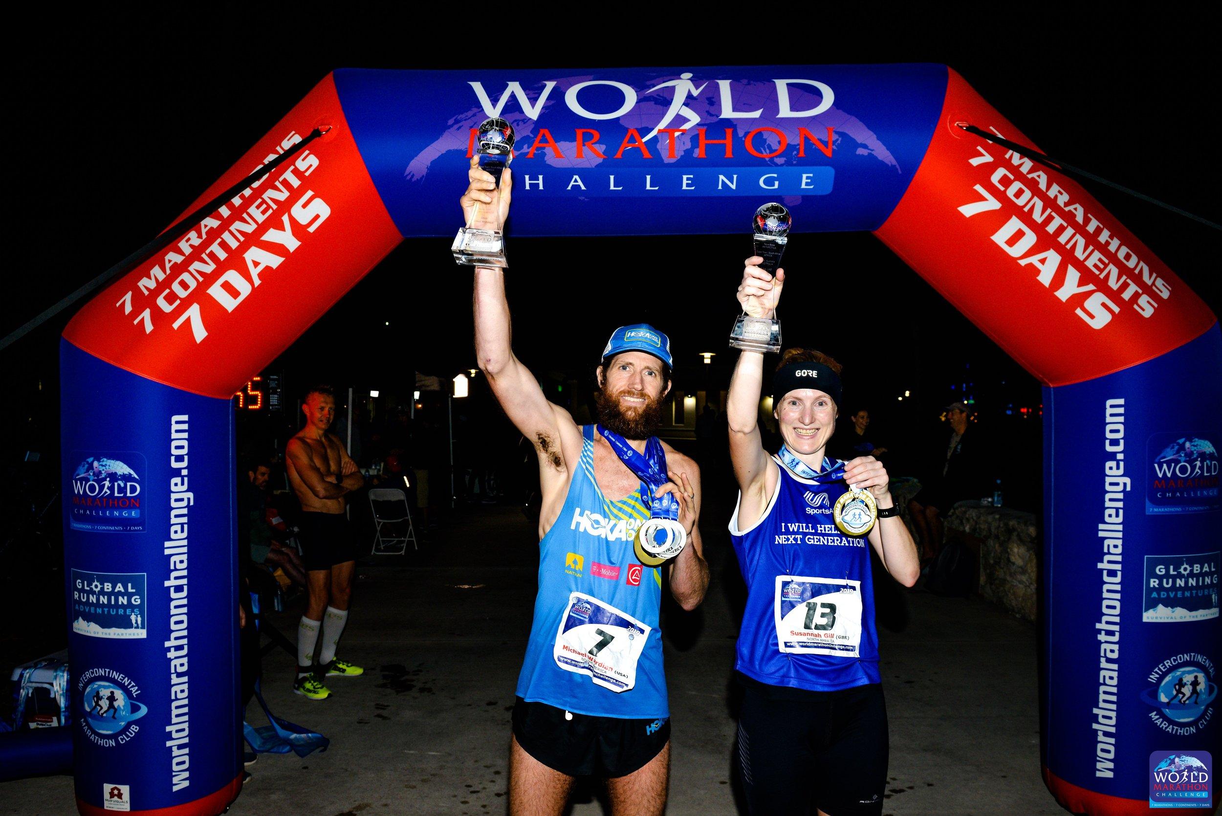 Susannah Gill with Mike Wardian in Miami_2019 World Marathon Challenger winners 2 .jpg