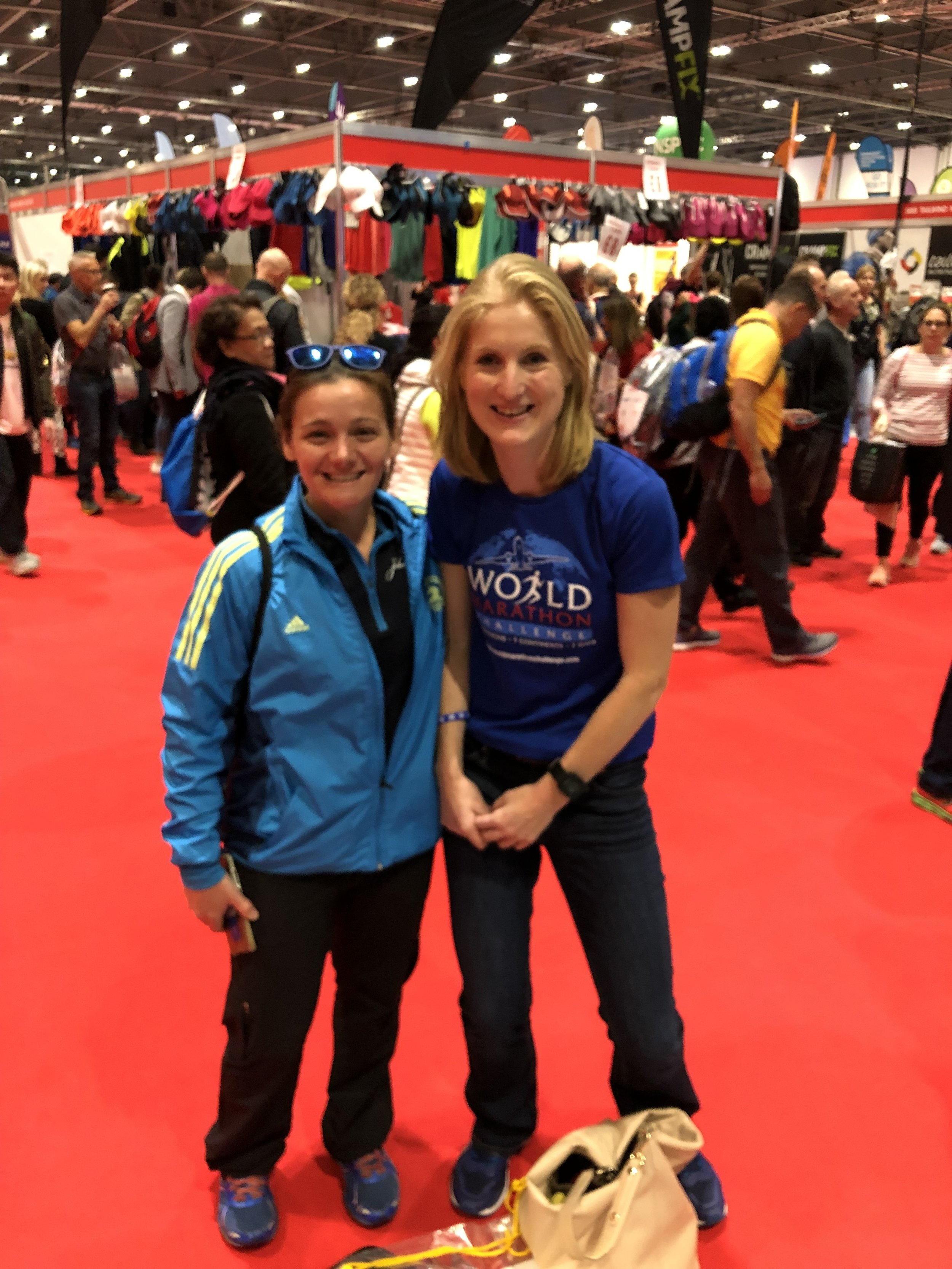 Meeting up with Becca Pizzi……proof that World Marathon Challenge World Record Holders come in all sizes.