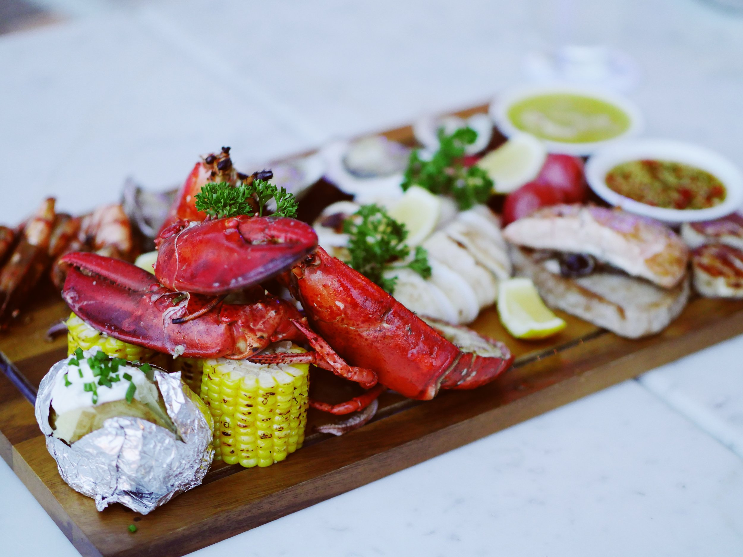 Fresh Maine lobster served on our oceanfront deck