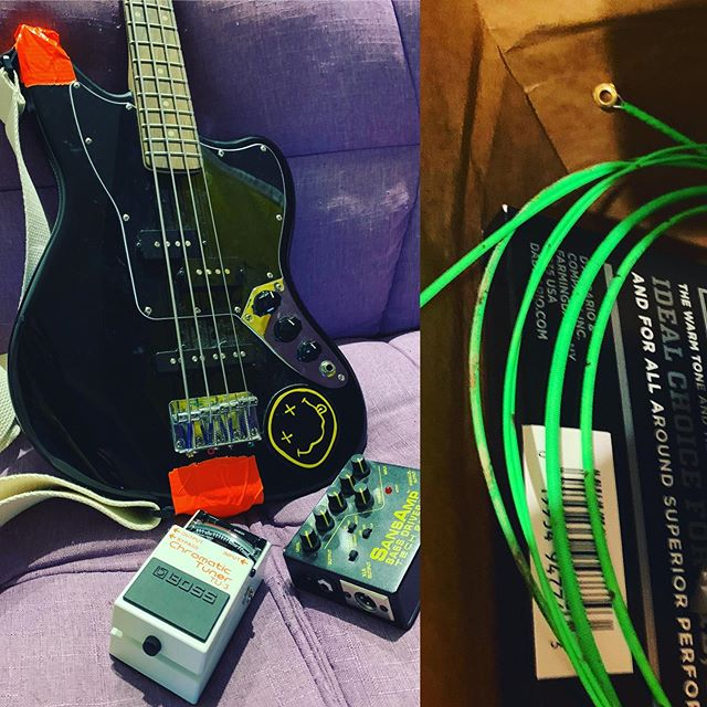 Got this stupid bass ready for tour again/ditched the neon strings, see ya in 3 weeks! #endofanera #wavingpastnirvana #passtherobitussin #wiveseurotour2electricboogaloo