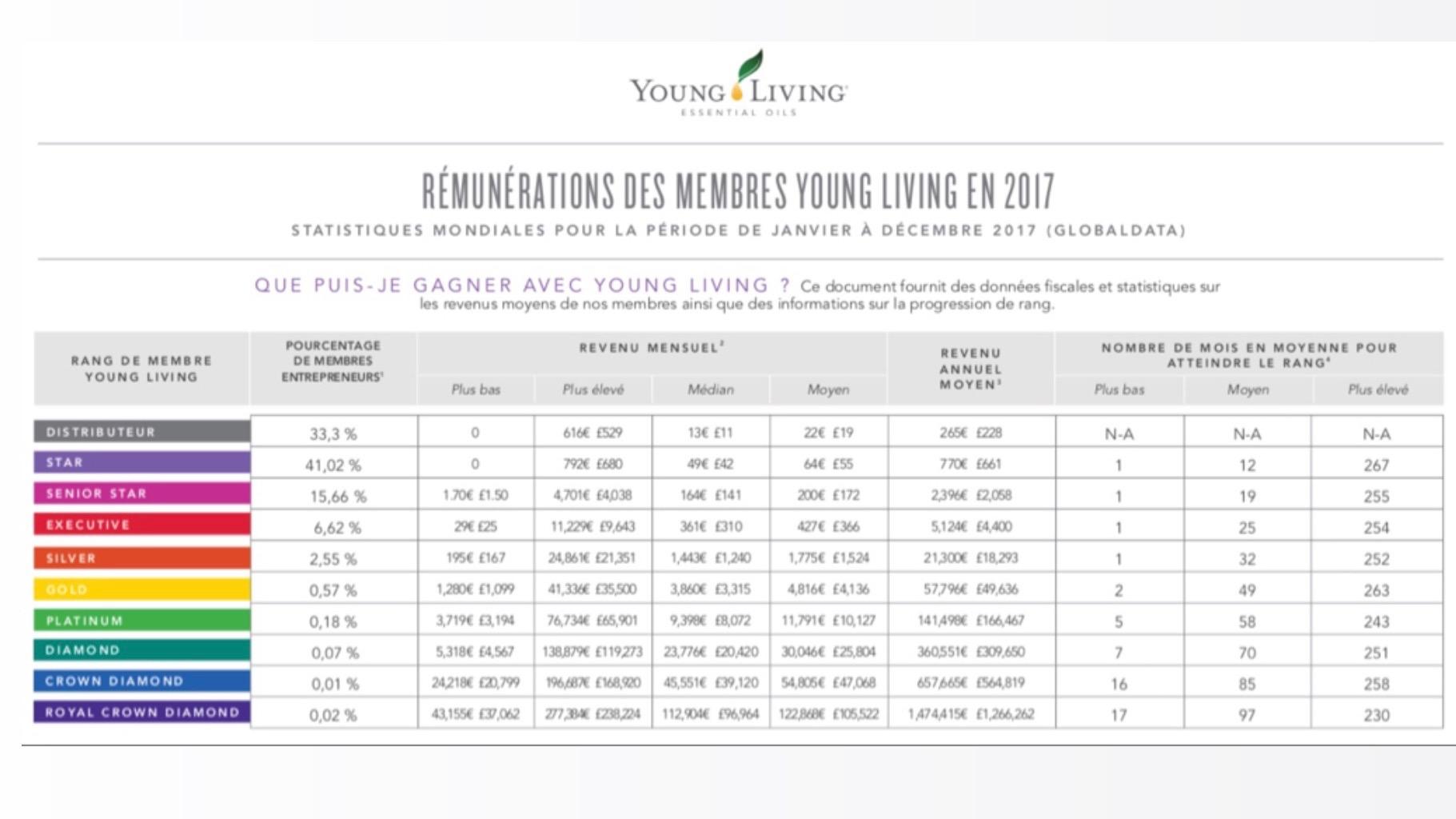 Voici le rapport annuel YL qui montre les plus petits et les plus gros revenus chez Young Living aux USA, en passant par le salaire moyen.