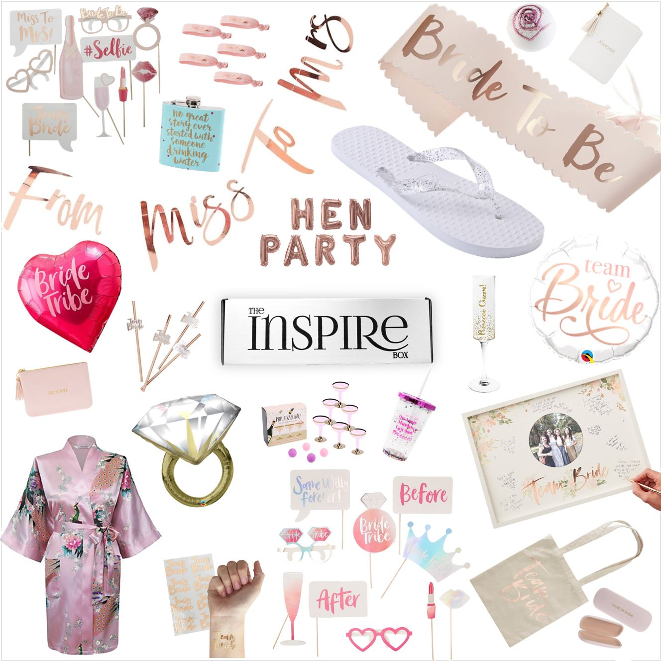 Hen party supplies are included in your box