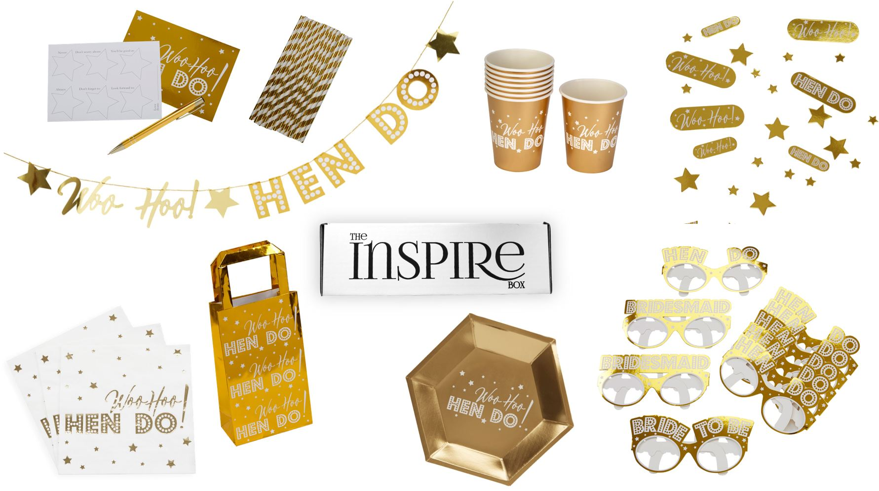 June's box was designed to prepare you for the hen party! filled with gold party supplies and decor.
