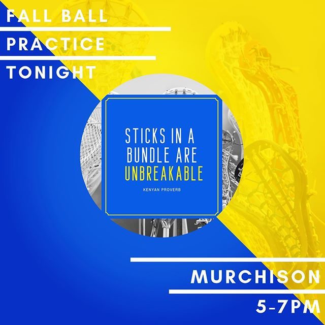 Just a reminder that fall ball practice is tonight from 5-7pm at Murchison. Please make sure all of your paperwork is turned in (unfortunately you cannot practice until it has been submitted). Bring water! 💦 #sticksup #ATtacksuccess