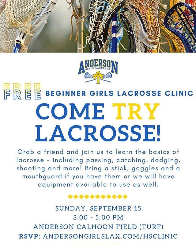 We have two free lacrosse clinics coming up at Anderson's Calhoon Field! 1) This Sunday (9/15) from 3-5pm:  Beginner clinic for Anderson and McCallum high school students. 2) Next Sunday (9/22) from 2:30-4pm: Youth clinic for girls in grades 5th-8th.  Register online using links in flyers (links are also on our website). If you cannot attend but would like to make a donation to our program to help offset the costs for our inaugural season the link to donate is on the registration page. #sticksup #ATacksuccess